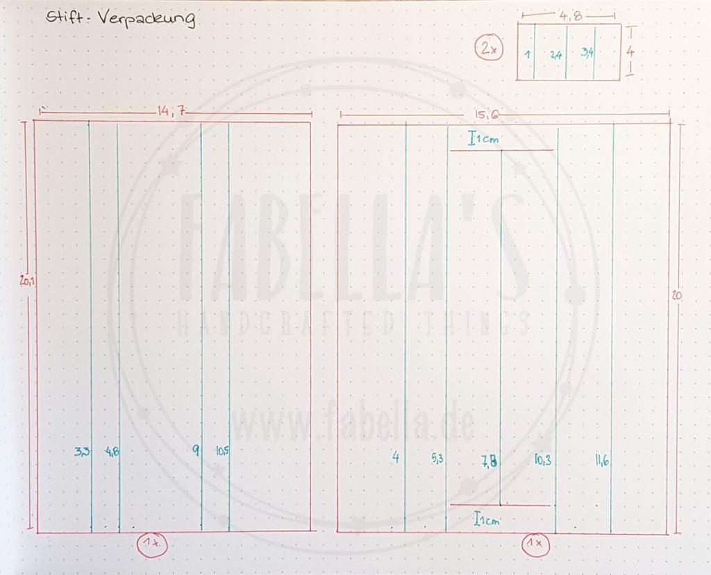 Skizze der Stift-Schachtel
